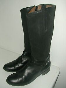 SOFT WAVES LADIES GORGEOUS RIDING STYLE MID CALF BLACK LEATHER BOOTS SIZE 7