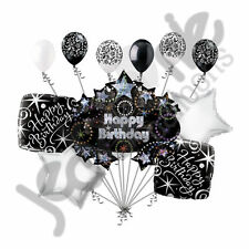 11 pc Happy Birthday Balloon Decoration Party Elegant 40 50 60 Adult Black White