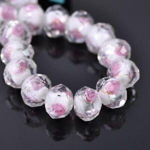 10pcs 10mm 12mm Rondelle Faceted Rose Flower Lampwork Crystal Glass Beads lot
