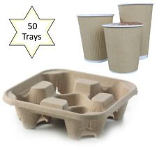 50 x 4 Cup Takeaway Cardboard Carry Tray Holder Tea Coffee Party Event Catering