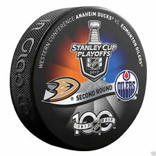 EDMONTON OILERS vs ANAHEIM DUCKS 2017 Playoff NHL 100th Ann. DUELING LOGO PUCK