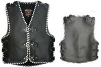 Heavy Duty 3-4 MM Thick A Grade COWHIDE Leather Motorcycle Club Vest white braid