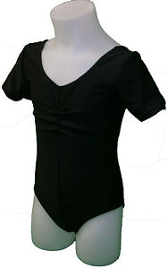 Short Sleeve Leotard Nylon With Ruche Front (Ballet, Drama, Uniform, Gymnastic)