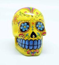 Yellow Day of the Dead Sugar Skull Trinket Box Mexican Dia De Los Muertos New