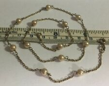 SIGNED 2HM  PEARLS CHAIN NECKLACE GOLD OVER 925 STERLING SOLID SILVER HLMKD 5.0g