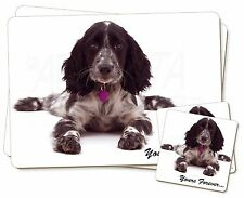 Blue Roan Cocker Spaniel 'Yours Forever' Twin 2x Placemats+2x Coaster, AD-SC21PC