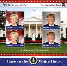 Liberia 2016 MNH Hillary Clinton & Donald Trump 4v M/S US Presidents Stamps