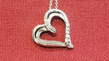 Sterling Silver Round Diamonds in Heart Pendant Women Necklace Valentine's Day