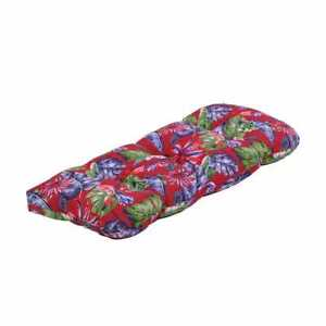 Hampton Bay Rectangle Tufted Outdoor Bench Cushion in Ruby Tropical