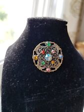 Coloured glass Filigree Brooch stunning Vintage Czech Art Deco Multi