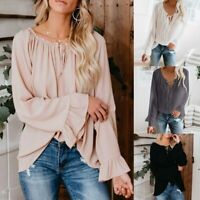 Women Boho 6-12 off shoulder Peasant Blouse Top Long Bell Sleeve Flared Loose