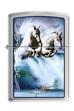 Zippo 7388 mazzi 2 white horses waves brushed chrome RARE & DISCONTINUED Lighter