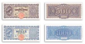 RIPRODUZIONI 500 1000 LIRE ITALIA TURRITA NON EMESSE LUOGOTENENZA CATALOGO FDS