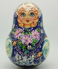Russian Girl w/ flowers Roly Poly Hand Carved Hand Painted no Nesting music DOLL