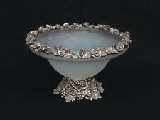 Large White Frosted Art Glass Bowl Metal Roses Rim & Grapes Base