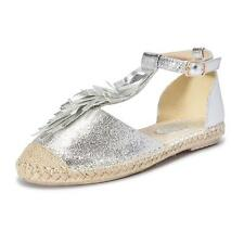 WOMENS LADIES FLAT PEEPTOE DIAMANTE T-BAR ESPADRILLES PUMPS SANDALS SHOES TASSEL