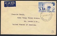 AAT 1957 2/- Vestfold Hills on Airmail cover to the USA MS237