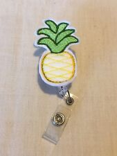 Pineapple Felt Retractable Reel ID Badge Holder Lanyard Clip Rn Nurse Fruit