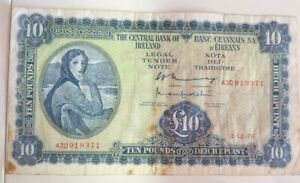 IRISH  £10 NOTE 2/12/76 FINE SOUND/CREASES minor 3mm tear toning  SEE SCANS