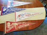 LOT VINTAGE  Souvenir FELT PENNANTS Reagan, Eisenhower, Goldwater