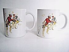 Norman Rockwell Trout Dinner Coffee Mug Cup 1987 Museum Collection Set Of Two