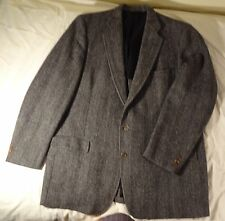 Gant HARRIS TWEED Wool Sport Coat Jacket Dark Gray Herringbone ≈ 46 47L FS