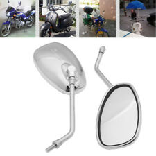 10mm Rear View Side Mirrors For Honda Suzuki Kawasaki Cruiser Chopper Motorcycle