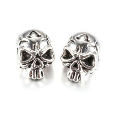 10pcs Tibetan Alloy Skull Metal Beads Cool Loose Spacers Antique Silver 12x9mm