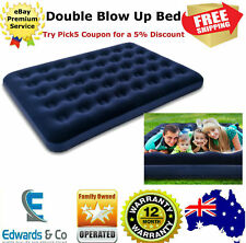 Blow Up Bed Double Inflatable Mattress Indoor Outdoor Flocked Surface Bag Blue