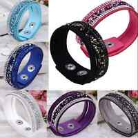 New Women Leather Wrap Wristband Cuff Punk Crystal Rhinestone Bracelet Bangle