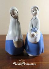 TWO Rex Valencia Spain Porcelain Hummelwerk Market Shopping Girls Basket Flowers