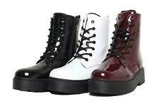 New Women Ladies Mid Block Chunky Heel Zip up Lined Patent Ankle Boots Shoes 3-8