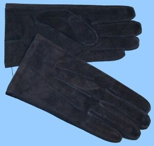 NEW MENS size 8.5 -Medium NAVY BLUE PIG SUEDE LEATHER UNLINED GLOVES shade 10531