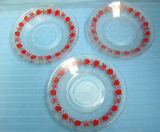 3 Rare Novacrisa Mexico Salad Luncheon Plates Frosted Glass Red Trim