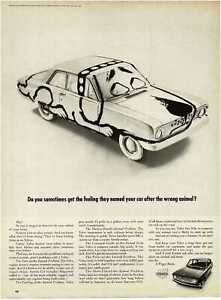 1968 VOLVO 142s painted to look like a dog Vintage Print Ad