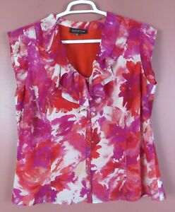 TB08573- JONES NEW YORK Women's Polyester Blouse Ruffle Multicolor Floral 16W
