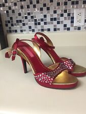 Betsey Johnson Red Satin Rhinestone Studded Ankle Wrap Sandals Heels Size 8