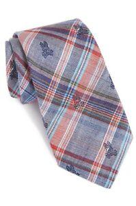 Psycho Bunny Tie Red Blue Tartan Plaid Preppy Silk Handmade Robert Godley