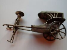 VINTAGE EARLY CHINESE SILVER MINIATURE RICKSHAW