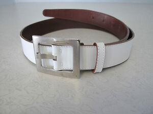 Women's Calvin Klein white leather belt sz M made Italy