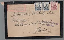 1938 Segovia Spain Airmail Mourning Censored cover to France Colombia Consul