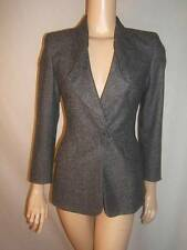 ESCADA Womens 34 4 SEXY RUFFLES ROSETTE EMBELLISHMENT GRAY Wool Jacket Blazer