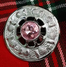 "Traditional Thistle Crest Ladies Brooch Pink Stone Chrome Finish 3""/Women Brooch"