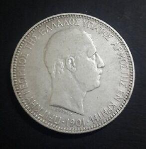GREECE! Vintage 5 drahmas Cretan State Prince George 1901 Rare Silver Coin!