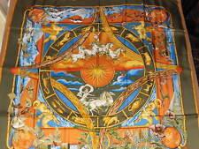 Hermes Sciarpa 90x90 cm Rythmes du Monde da Laurence Bourthoumieux 1999 Verde