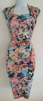 Womens Phase Eight Blue Multi Floral Ruched Sides Stretch Wiggle Dress 10 Vgc.