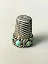 Antique Thimble 800 Sterling with Turquoise Cabochon Stones,FREE shipping!