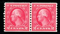 USAstamps Unused VF-XF US Washington Coil Pair Scott 455 OG MNH Fresh