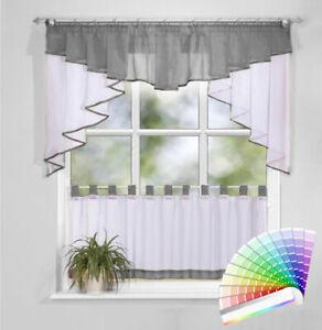 2 Teile Scheiben Gardinen Set Fertiggardine Fenstergardine  70x150 / 45x150cm