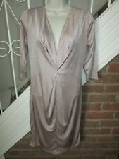 BNWT £35 UK 10 River Island Dress Nude Pink Colour Gold Dot Studs Party Plunge